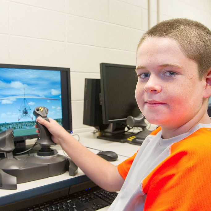 For three years, 11-year-old Noah Schofield has been taking the Aviation Camp class during summer at St. Clair College's Campus For Kids in Chatham. During those years, Schofield has said he has seen a definite increase in his skill level in the aviation simulator.