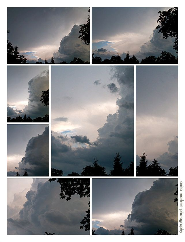 A collage of the first storm Friday evening as it approaches. Photos courtesy Anita Markert