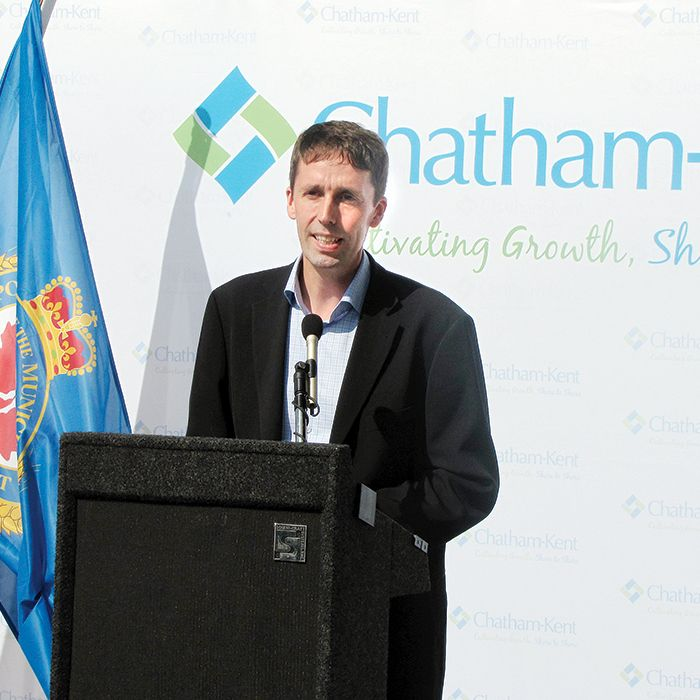 Colin Edwards, senior project developer for Pattern Energy, announces $2.5 million for upgrades at the Chatham-Kent Municipal Airport on behalf of the South Kent Wind project, a joint venture of Samsung Renewable Energy and Pattern.