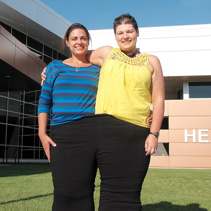 Cindy Browning and Renee Phillip are competing in the C-K Amazing Race as the Slim Pickins team. The first-timers, who have spent most of their lives battling weight problems, are thrilled to be taking part this year. To demonstrate their amazing weight loss, they're both fitting into a pair of size-28 pants that used to be worn by Phillip.