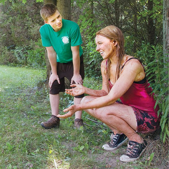 """Actors Scott Clark and Nicole Coenen film a scene from the JX3 Media Production """"Wilderness Adventures"""" at C.M. Wilson Conservation Area recently."""
