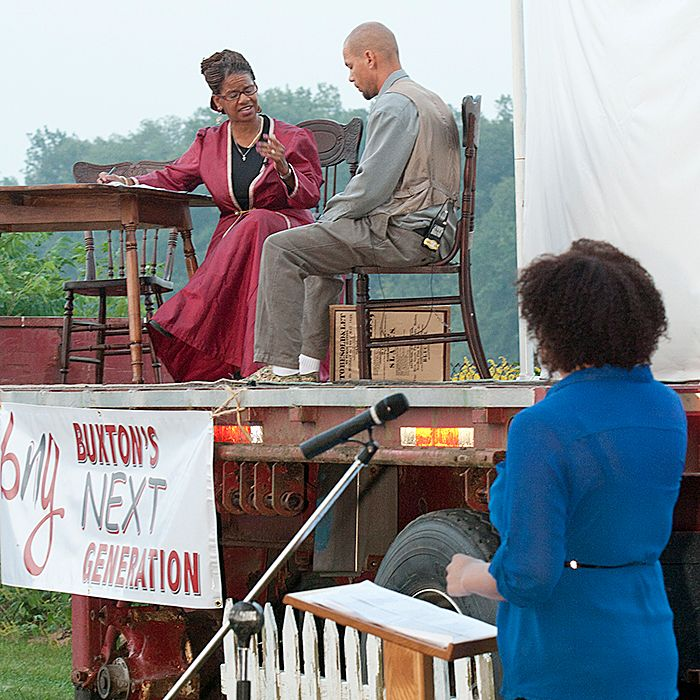 Jametta Lily and Vernon Brown perform during a re-enactment prepared by the Buxton's Next Generation group on Sunday, Sept. 1.