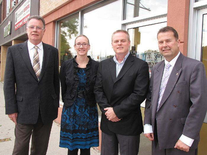 Businesses, both large and small, are being encouraged to attend The Benefits of Branding on Oct.31, hosted by the Chatham-Kent Chamber of Commerce and the Chatham-Kent Small Business Centre. The chamber held a news conference Oct.17 to announce the event. Pictured are Brian Worrall, communications officer for Chatham-Kent, Zoja Holman of the Chatham-Kent Health Alliance, chamber chairman Chris Appleton, and Lindsay Boyd of Union Gas.