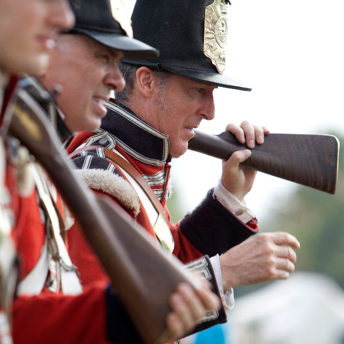 British soldiers prepare for the Battle of The Thames on Oct. 5 at the bi-centennial anniversary re-enactment.