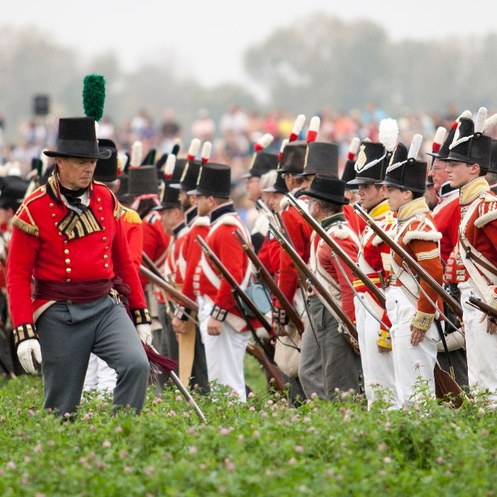 British soldiers wait for the command to fire during the Battle of The Thames re-enactment celebration held along Longwoods Road on Saturday.