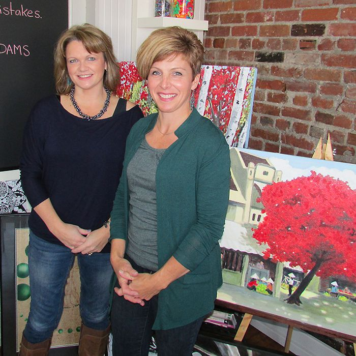 Longtime friends Lesli Jeffrey and Sandy Moon relax in their smART Studio which just opened for classes this week. The studio, in the old McKeough school, offers art classes and studio time for anyone interested in taking up a paint brush, pencil or piece of charcoal.