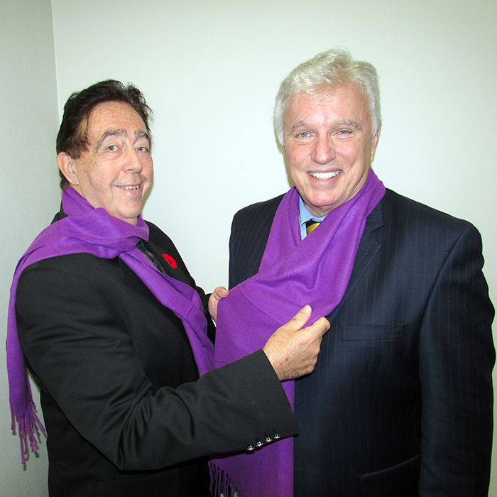 Hal Bushey, executive director of the Chatham-Kent Women's Centre helps Chatham-Kent Essex MPP Rick Nicholls put on his purple scarf. Women's centres around the province are selling the scarves to raise funds and awareness to combat domestic violence.