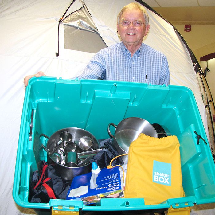 Rotarian Keith Koke is raising money to send Shelter Boxes to survivors of Typhoon Haiyan in the Philippines. Each box supplies a family with a tent, and lifesaving equipment to use while they are displaced or homeless.