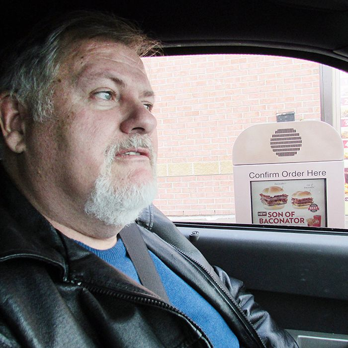 Jim Blake, following most of his drive-thru etiquette rules.