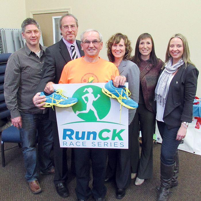 RunCK's distance running series returns for a second year, helping to get our population moving. From left, RunCK marketing and media co-ordinator Chris McLeod, Mayor Randy Hope, RunCK chairman Angelo Ligori, web administrator Hazel Moore, Chilly Run organizer Rachel MacLeod of the Cancer Society, and RunCK treasurer Nicole Piette.