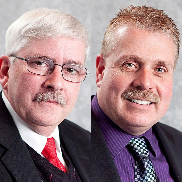 Jim Brown, left, and Steve Pinsonneault.