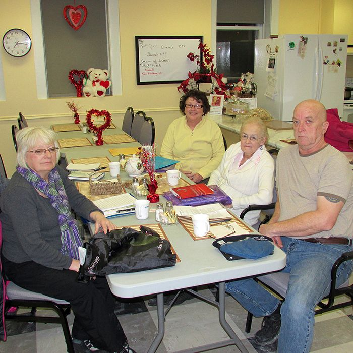 Fleda Southgate, Dorothy Gallant, Chris Jenkins and Dana Burrage are members of a writing class at the Wallaceburg Adult Activity Centre.