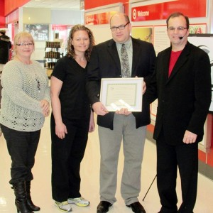 From left, Chatham Coun. Marjorie Crew, Heritage Dental representatives Amanda Brooksbank and Dr. Oriano Bernardi, and Chatham-Kent Accessibility Advisory Committee chairman Ralph Roels.