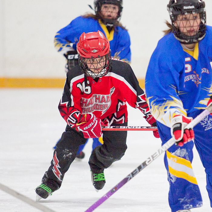 Chatham Riverview Bingo Novice Thunder sniper Martina Legere chases a member of the Forest Extreme team on March 2 during a game at the Erickson Arena. For the third straight year, the Thunder finished the season undefeated. (Sarah Schofield photo)