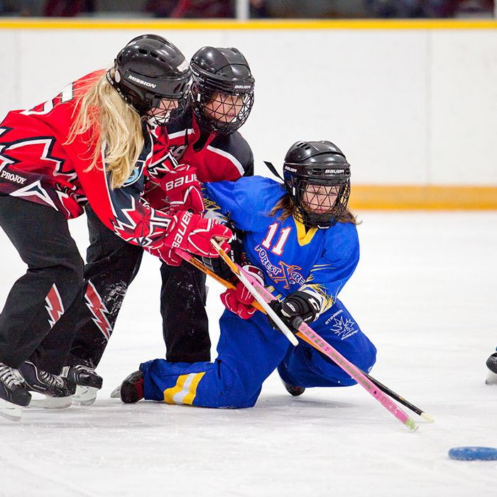 Forest Extreme ringette player Cambelle Klapak tries to maintain control of the ring during a game against the Chatham Riverview Bingo Novice Thunder on March 2 at the Erickson Arena. (Sarah Schofield photo)