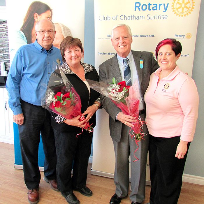 From left, John Lawrence, president of Sunrise Rotary Club of Chatham; Laurie Nash, wife of the late Jim Nash, a former club president, John Case, fundraising co-ordinator with the Chatham-Kent Hospice; and Brandon Stuart, Sunrise Rotary club, were on hand Thursday to launch this year's Roses for Rotary fundraising event. Fund raised will go towards the Chatham-Kent Hospice.