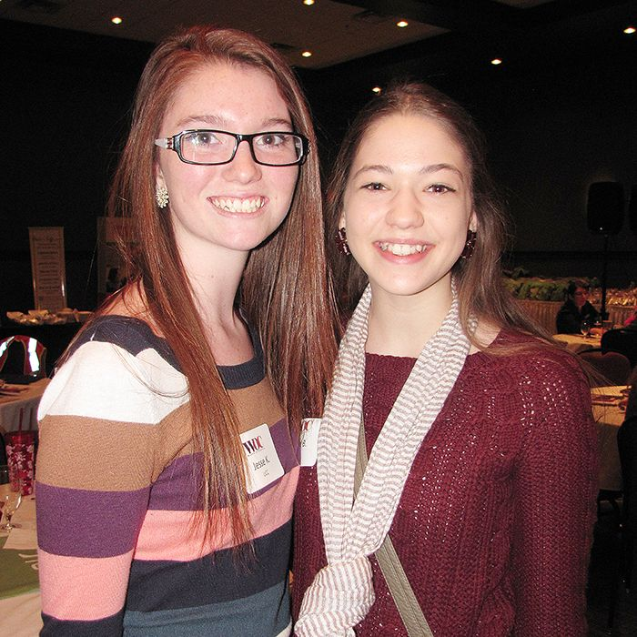 """Jesse Kaniecki and Kaila Broadbent were among 70 young women who took part in """"World of Choices"""" at the John D. Bradley Convention Centre March 26. During the event, hosted by Junior Achievement, the young people had the chance to discuss a wide range of career options with 20 successful women from Chatham-Kent."""