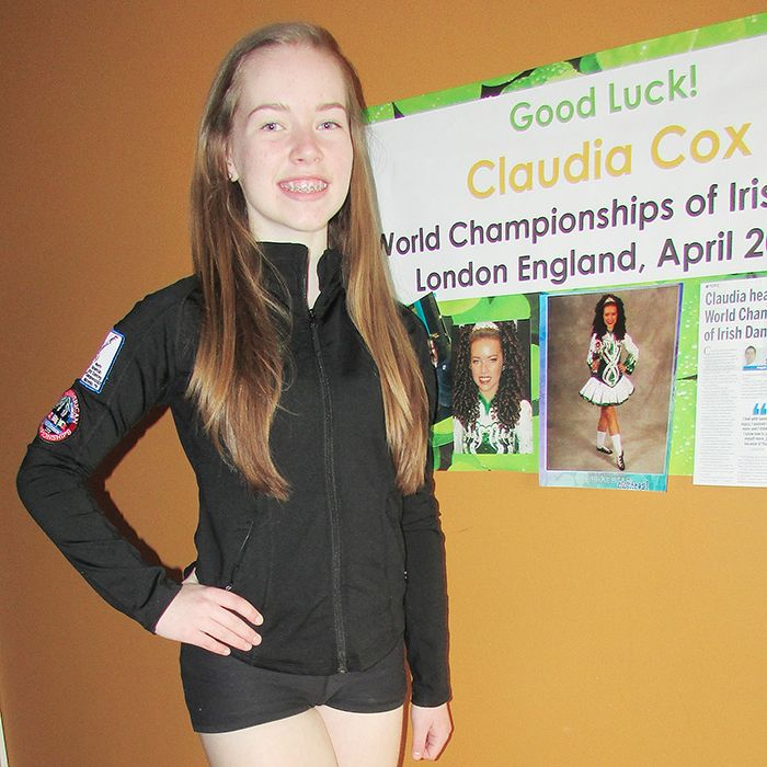 Claudia Cox, 14, is off to the World Championships of Irish Dance in London, England. Cox, a long-time member of Cornell's School of Irish Dance in Chatham, hopes to make dancing her career.
