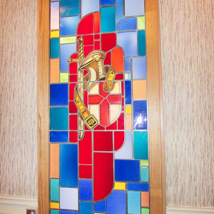 This window, depicting St. George and the Armour of God, was one of two windows thought lost by the congregation of Blessed Sacrament Church in Chatham a decade ago. It and the Blessed Sacrament window were recently returned by a glass company in London, Ont.