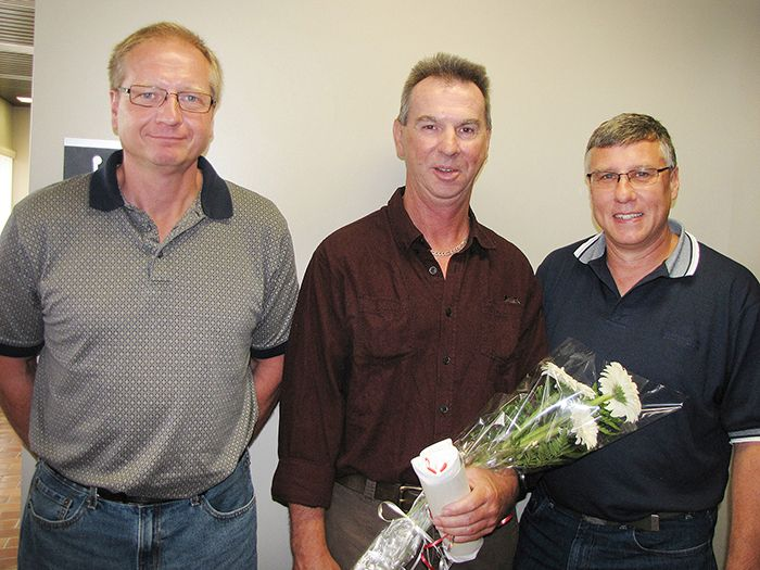 Randy Chilcott, middle, celebrates Survivor Day with EMS paramedics Jim Sinclair and Tom Millard on June 25 at the Chatham-Kent Civic Centre. Sinclair and Millard were part of the team that helped Chilcott survive a heart attack six months ago. Their story was one of nine shared during the ceremony that brought together survivors of pre-hospital cardiac arrest and the emergency services personnel, as well as first responders, who impacted their lives.