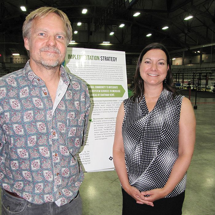 Jarmo Jalava of Carolinian Canada, and planning consultant Jennifer Lawrence were on hand to answer questions about the proposed C-K Natural Heritage Implementation Strategy at a public open house. The community forum was held July 2 at Memorial Arena in Chatham. The conservation policy goes before C-K council on July 14.