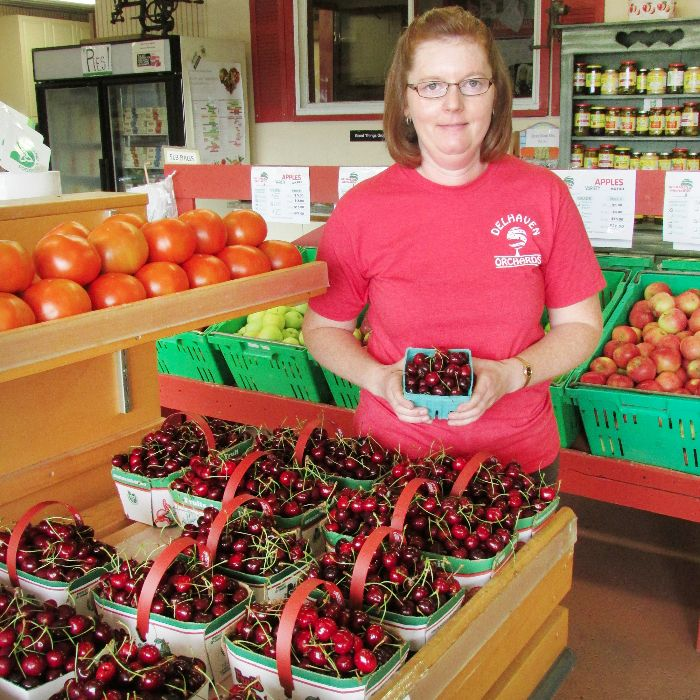 Delhaven Orchards' Kim Watt showcases some of the sweet cherries that are ready for Blenheim Cherry Fest, which starts Thursday.