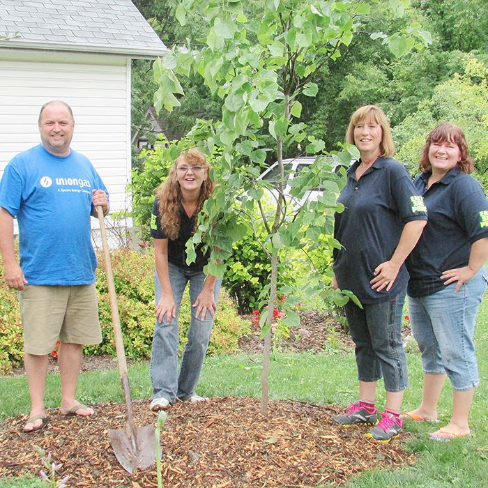 From left, Craig McAlorum, assistant support manager for Union Gas Chatham; Bev Webster, vice chair of ESP; and Heather Bakker and Erika Jones, ESP members checked out the plantings Saturday morning.