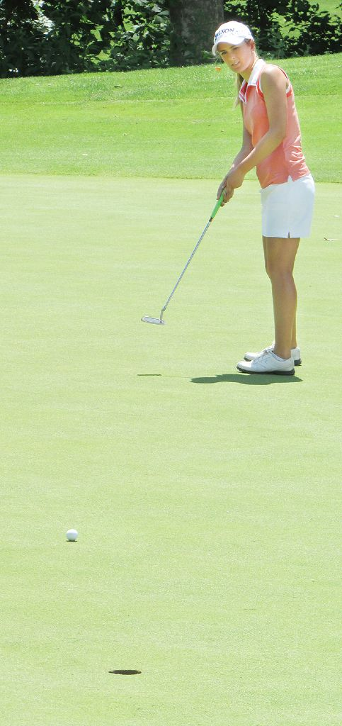 Madison Easterbrook watches her long putt head to paydirt on the 18th hole during the first day of the Ontario Junior Girls' Championships at Maple City Country Club. Easterbrook's home course is Whistle Bear Golf Club near Cambridge.