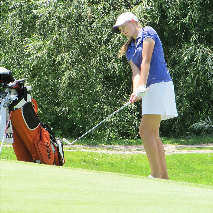 Annika Haynes chips onto the 18th green at Maple City Country Club. The Credit Valley Golf & Country Club player is in Chatham-Kent taking part in the Ontario Junior Girls' Championships.