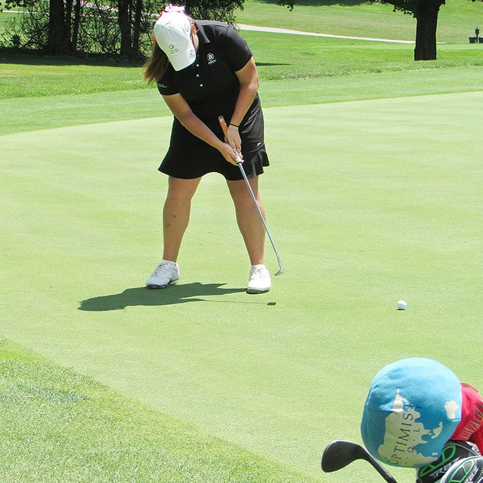 Alyssa Getty, of Kingsville Golf & Country Club, pars the 18th hole Tuesday at Maple City Country Club, on her way to a new junior girls' course record 68 on the day, while taking part in the Ontario Junior Girls' Championships.