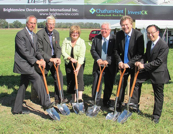 From left, Mayor Randy Hope, South Kent councillors Frank Vercouteren, Karen Herman and Art Stirling, and Brightenview vice-president Lorne Nystrom and CEO Joe Zhou announce the new 34-acre development in Blenheim's Business Park Friday.