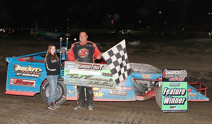 Brian Ruhlman, Modified shootout winner with flag girl Allie Massender. (James MacDonald Photo)
