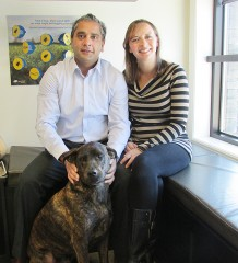 Dr. Kerry Mall, Krista Mall and their pet Brook, are all part of D.M.S. Veterinary Centre.