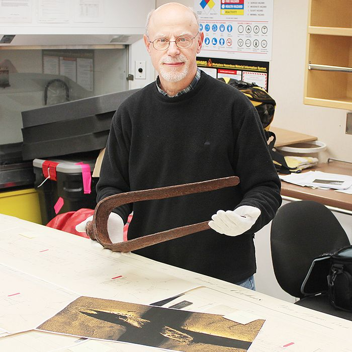 Chatham native Doug Stenton showcases the fitting he and a team discovered in September on an island in the Victoria Strait. It led searchers to one of the lost Franklin Expedition vessels.