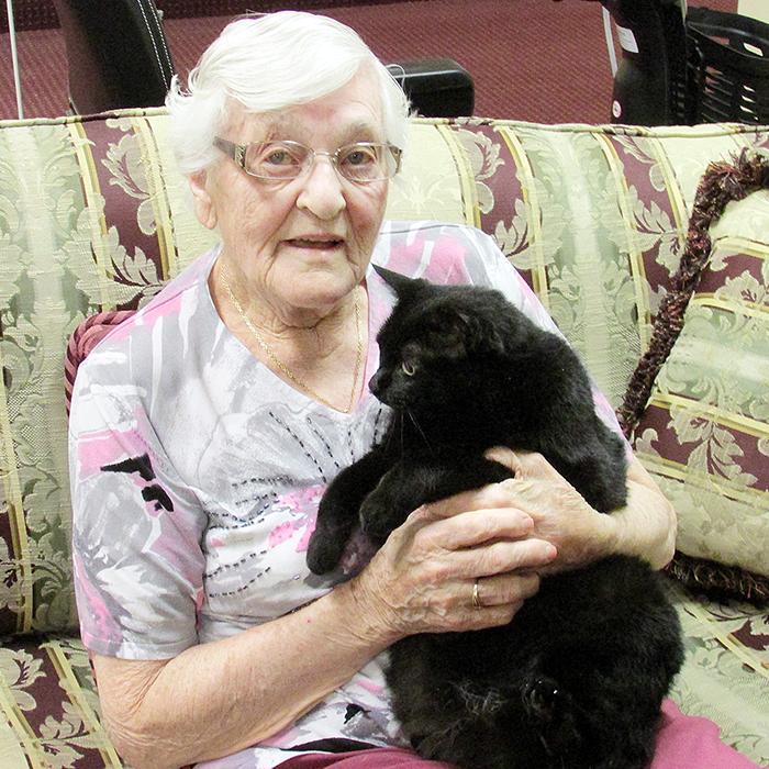 Joanna Allen with her cat Heidi.