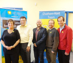 From left, Cindy Vinall, manager of the Chatham-Kent and Sarnia-Lambton branches of the Canadian Cancer Society; and municipal councillors Derek Robertson, Brock McGregor, Trevor Thompson and David VanDamme showcase society daffodil pins, which are on sale at various locations around the municipality.