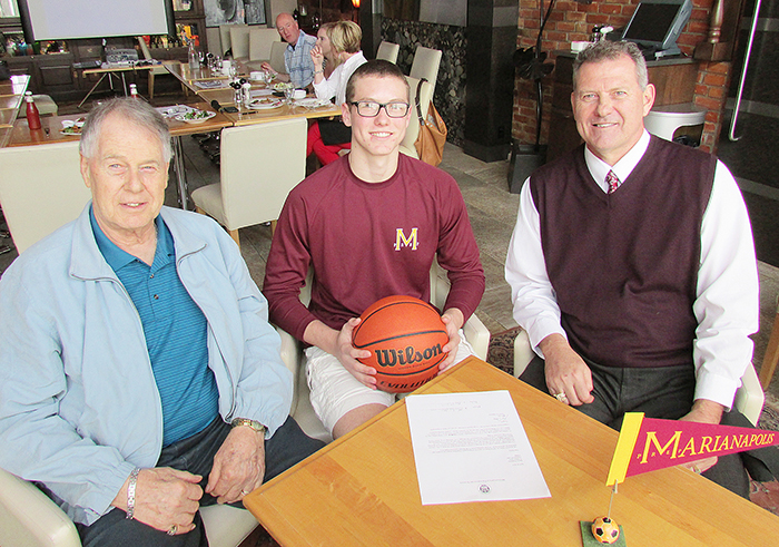 Three generations of the Blommers family (Henry, Marley and Ron) were on hand May 6 when Marley signed a letter of intent to attend Marianapolis Prep School in Connecticut next fall. The CKSS student is transferring to continue his basketball career.