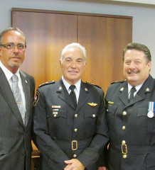 Mayor Randy Hope and Chatham-Kent Police Chief Gary Conn congratulate newly named Deputy Chief Jeff Littlewood on his appointment to the position. Littlewood is a 31-year veteran of local policing.