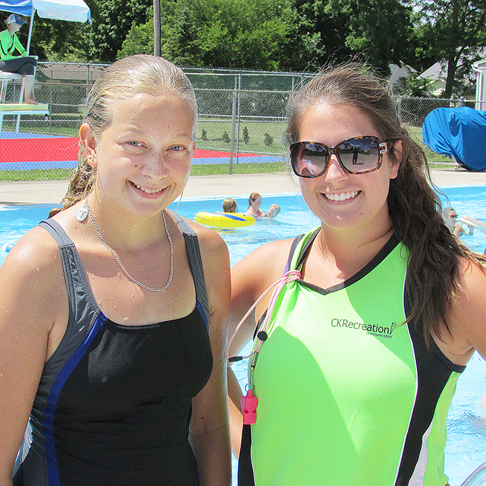 Lindsay Martin of Dresden will be competing for the title of CNE Ambassador of the Fairs this month in Toronto. Lindsay is a lifeguard/instructor at the Dresden Pool. Here she is with student Erica Westerberg.