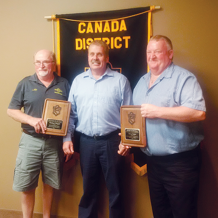Thamesville residents took home major awards at the Sertoma Club Ontario District Fall Conference recently in Chatham. Left to right are Mike Wright - Sertoman Of The Year Award District Winner, East Kent Councillor Steve Pinsonneault and Terry Myers, the Service To Mankind Award District Winner.