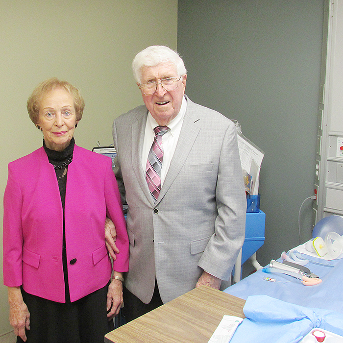 Denny and Dr. Don Patterson are all smiles at the unveiling of the Dr. Don Patterson Learning Centre Oct. 15 at the Chatham-Kent Health Alliance.