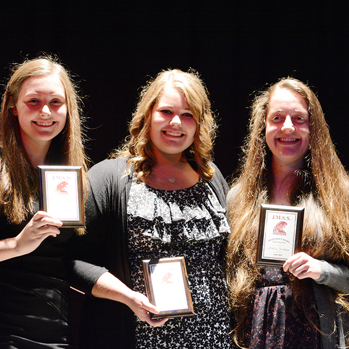 From left, JMSS students Abby Roesch, Grade 9 Proficiency Award; Mackenzie Regts, Grade 10 Proficiency Award; and Ashley Jackson, Grade 11 Proficiency Award & Citizenship Award were among a group of undergrads honoured recently at the school.