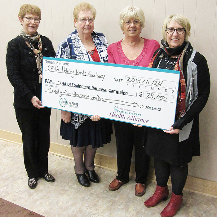 From left, Jill Slaughter, Executive Member; JoAn Dale, President; and Francesca Allinson, Volunteer, CKHA Helping Hands Auxiliary; and Michele Grzebien-Huckson, Executive Director, Foundation of CKHA.