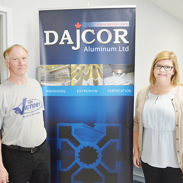 Ed Smith & Amanda Millman of DAJCOR Aluminum Ltd. The company donated more than $10,000 to the 2015 United Way Campaign, an over 500% increase from last year.