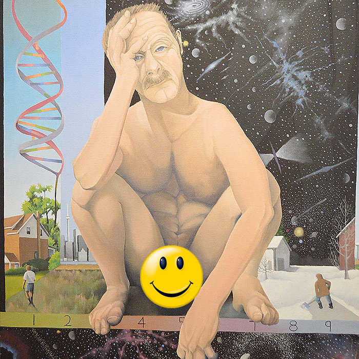 This self-portrait of local artist Leonard Jubenville has raised the ire of some in the local arts community. We added the smiley face to censor his private parts, which are on display in the painting. It is part of a juried exhibit on now through January 10 at the Thames Art Gallery.