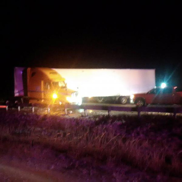 T tractor trailer jackknifed in eastbound lanes of Highway 401 near Drake Road, at just after 9 p.m. last night.