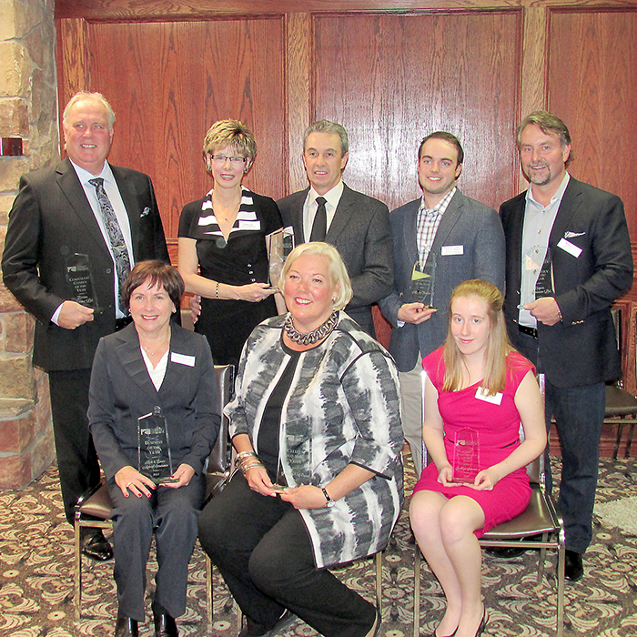The Chatham and District Chamber of Commerce held its 128th annual awards night. Award winners included, front row left to right, Joanne Vansevenant, Jennifer Wilson, and Jacklyn Janssen. In the back row are Dave Barnier, Sue and Mike Korpan, Jeff McFadden, Bill Loucks and Mike Kilby.
