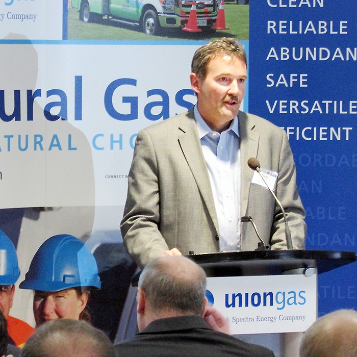 Union Gas President Steve Baker addresses the crowd at Monday's opening of the $16.8 million information technology centre on Bloomfield Road. The building will be home to more than 220 IT specialists.