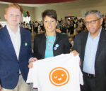 Several hundred people were on hand Monday to help celebrate the launch of ACCESS Open Minds, a hub for co-ordinating all mental health services for youth under one roof. Here, Youth Advisory Committee member Chaz Langford; Paula Reaume-Zimmer, Integrated Vice President, Mental Health & Addictions Services, CKHA; and CKHA chief of staff Dr. Ranjith Chandrasena show off one of the ACCESS T-shirts before the event.