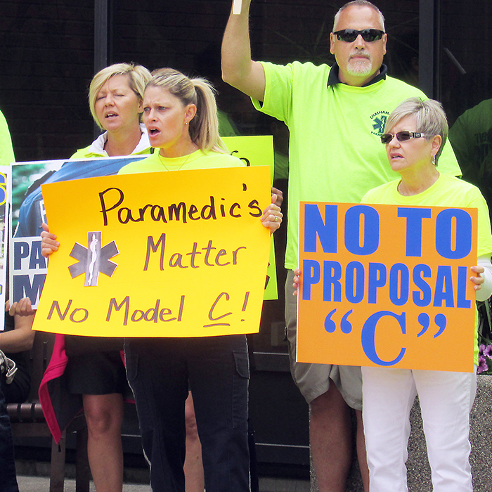 An estimated 170 people marched Monday afternoon from the Chatham-Kent Health Alliance to the Civic Centre to protest a proposal to have local paramedics become part of the Chatham-Kent Fire Department. The group is collecting petitions against the move, which is slated to go back before council June 27.
